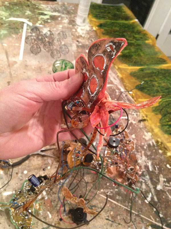 making insects for   Electrolier (Summer Night)   2013 electronics, flexible copper laminate, velvet and ink on mylar