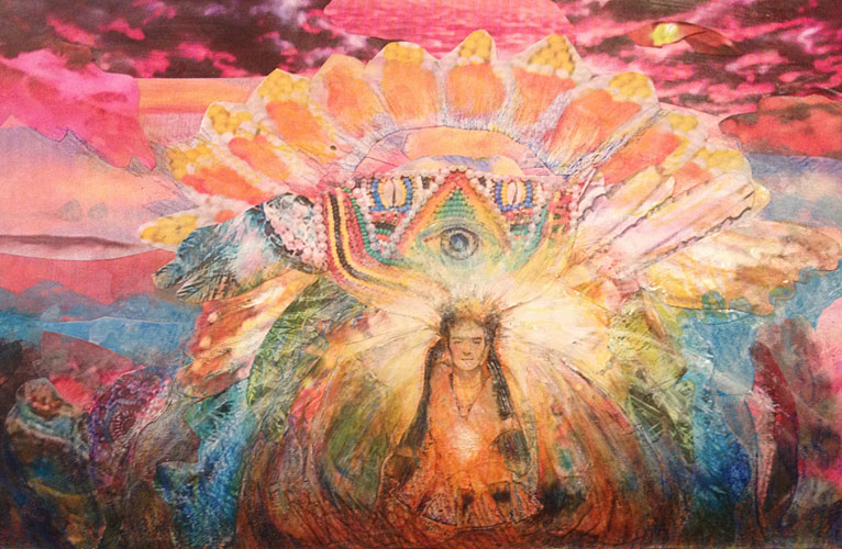 Scene from a shamanic journey , K. Heaton, 2013. Collage, watercolor and colored pencil on paper.