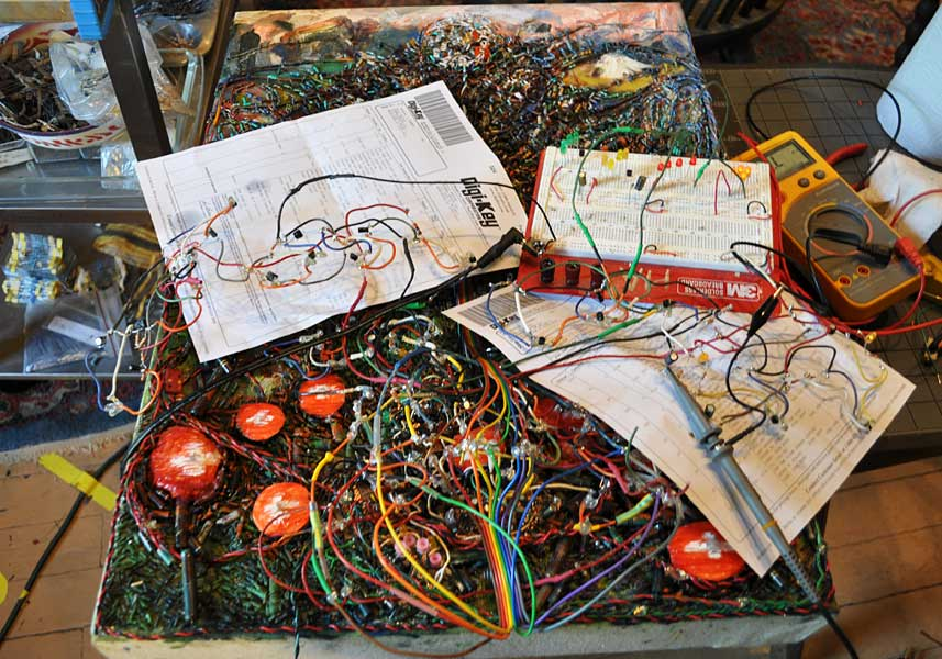 making of   The Tree of Life and Death  (2005-2010) electronics, oil and paper sculpture on canvas