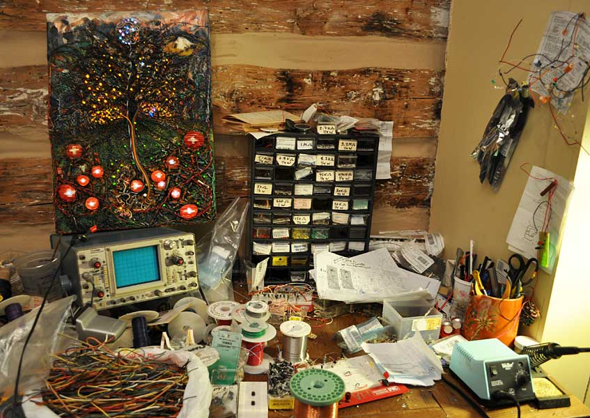 studio scene from the making of   The Tree of Life and Death  (2005-2010) electronics, oil and paper sculpture on canvas