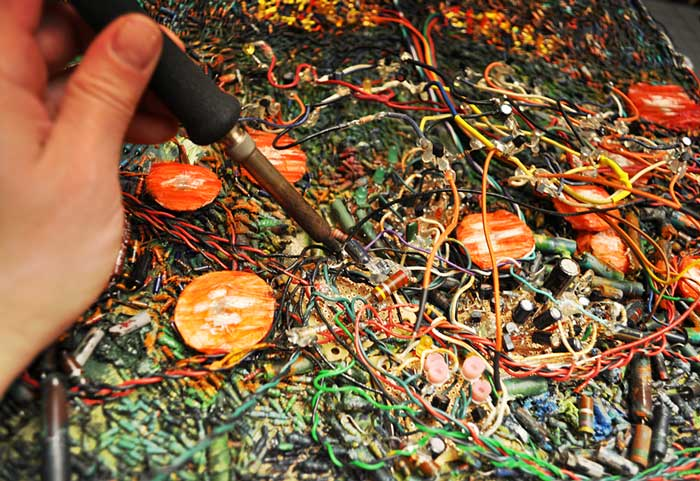 detail from the making of  The Tree of Life and Death  (2005-2010) electronics, oil and paper sculpture on canvas