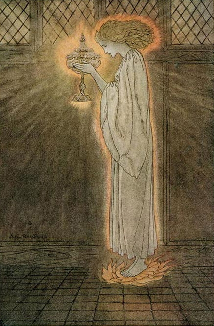 Arthur-Rackham,-'How-at-the-Castle-of-Corbin-a-maiden-bare-in-the-Sangreal-and-foretold-the-achievements-of-Galahad.jpg
