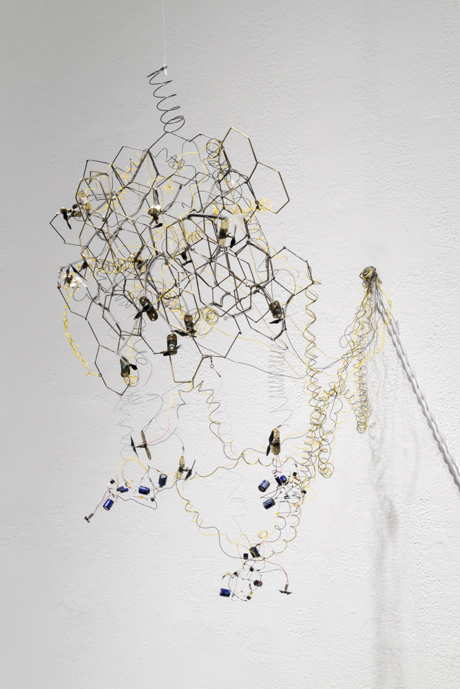 Kinetic Study of Bees #3    (2015)  brass, steel, and electronics