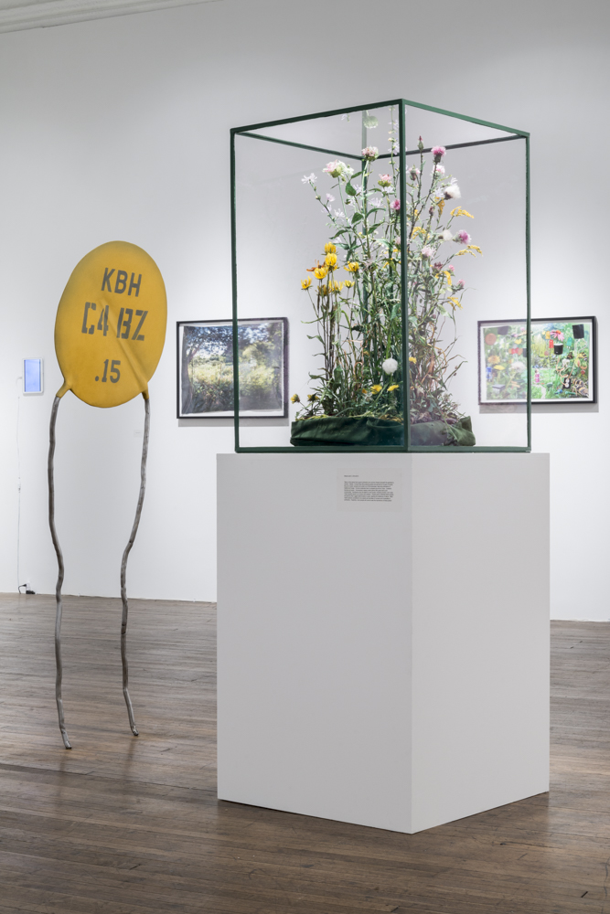 Weeds and C    (2014-2015)  dyed silk, acrylic, wire, thread, various textiles, beads, glue, museum glass, painted steel vitrine, steel, polyurethane resin, acrylic, sand