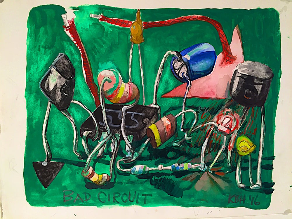 Bad circuit, 2016. Watercolor, gouache and graphite on paper. Kelly Heaton