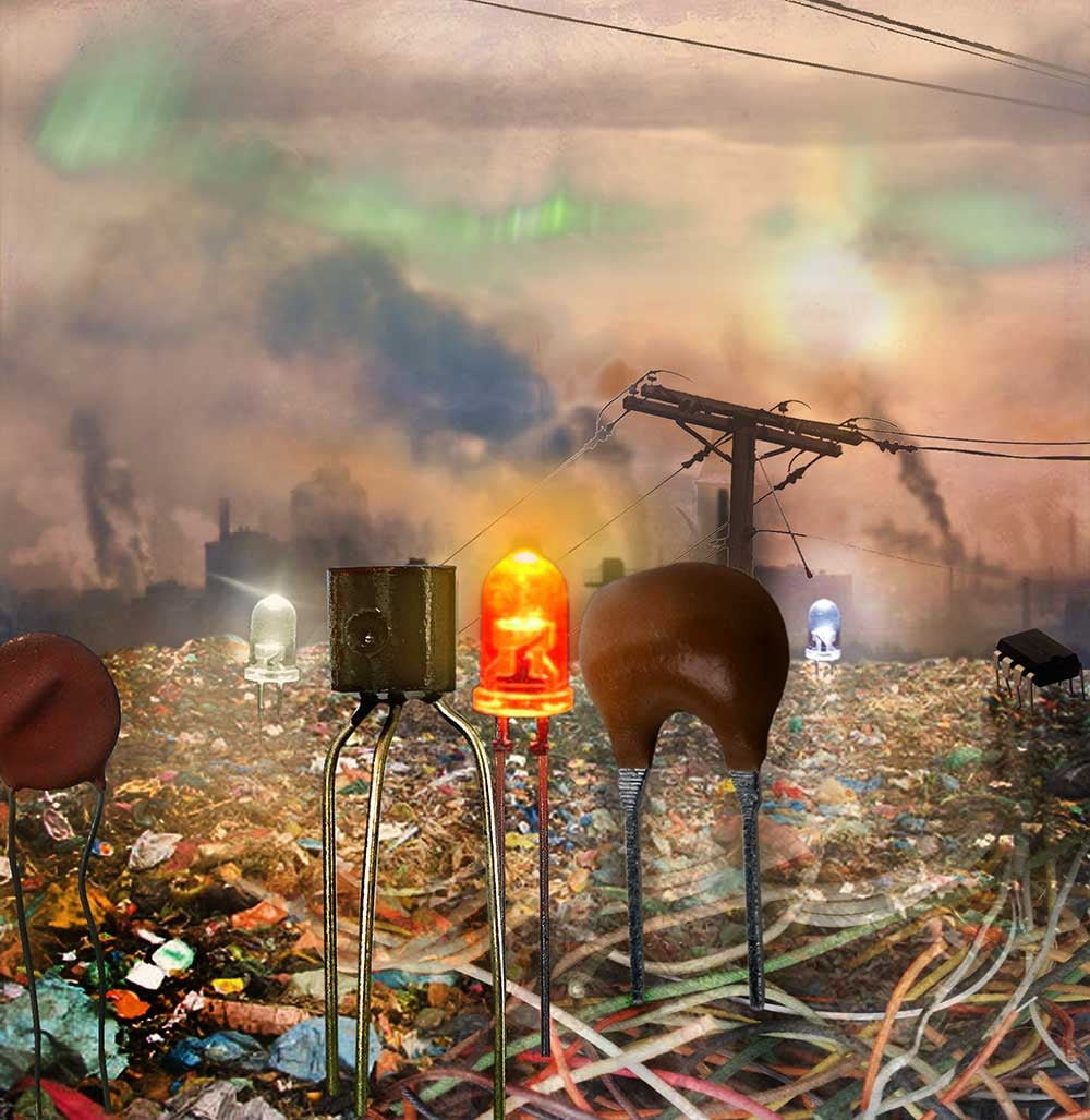 "Climate Turner, 2016.  Digital photocollage (sketch) using trash, smog, wires, electronic components and the composition of J. W. Turner's painting ""Peace - Burial at Sea,"" from 1842."