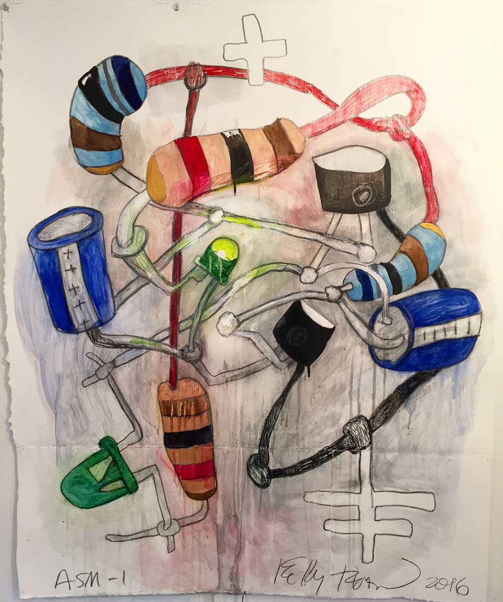 "Astable multivibrator #1, 2016.  Graphite, watercolor, and ink on paper.  41"" x 33."" Kelly Heaton"