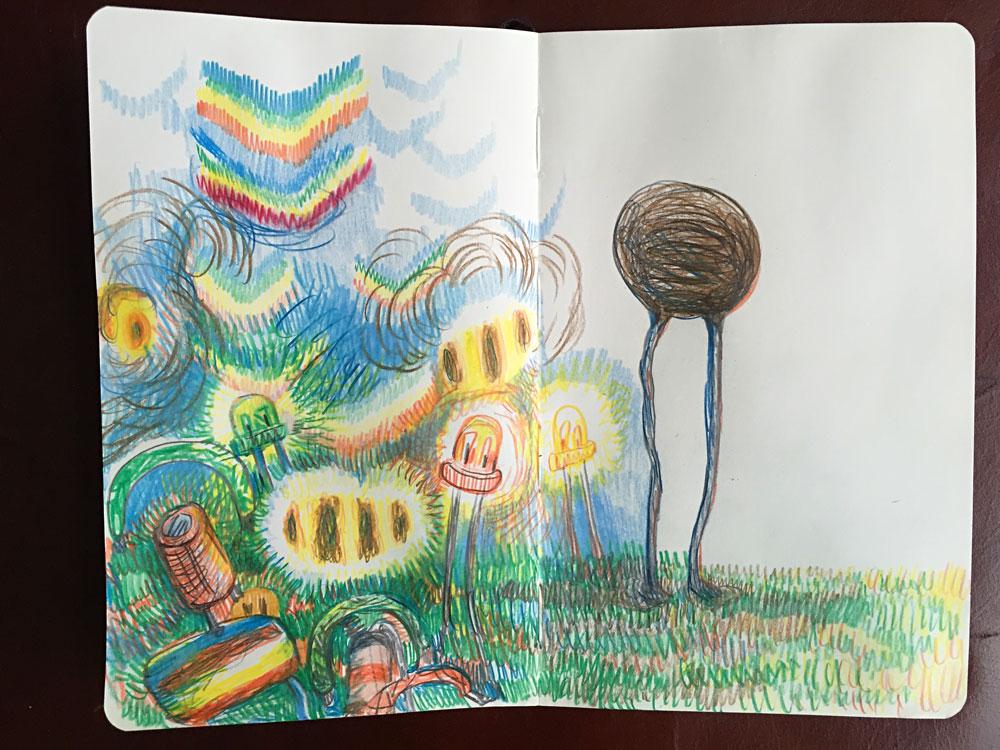 Notebook sketch. Colored pencil