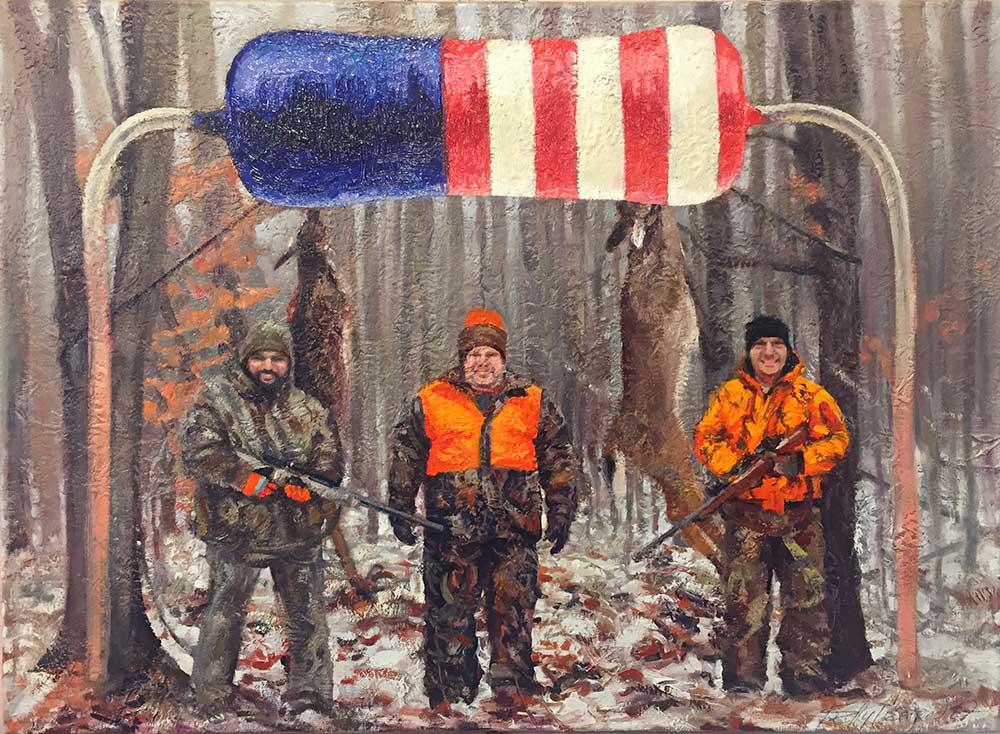 "American Resistance (Deer Camp), 2017. Oil on linen, 22"" x 29"""