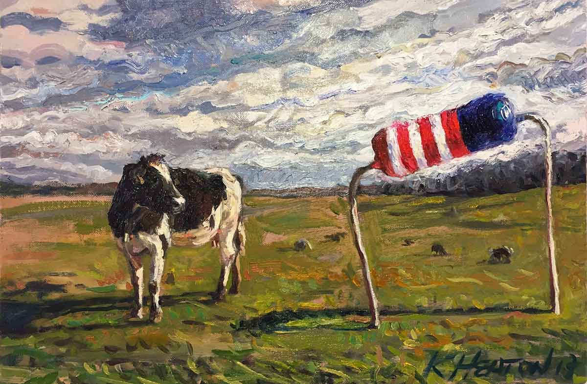 "American Resistance (Black and White Cow), 2017. Oil on canvas, 12"" x 18"""