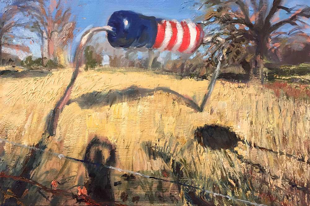 "American Resistance (fallow field), 2017. Oil on canvas, 12"" x 18"""