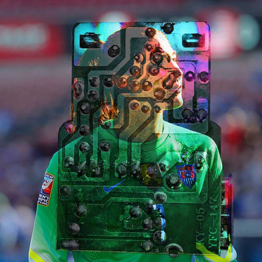 Master file for Transhuman Goalie (2017). This multi-layered Adobe Photoshop image was used to create seven half-tone transparencies. What you see here is a composite of all of the digital image layers in CMYK bitmap format.
