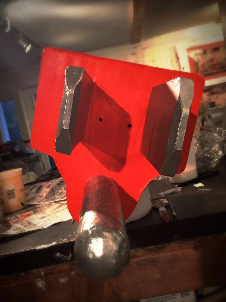 Plug Mask (in process), 2017. Cardboard, wood, and paint construction.