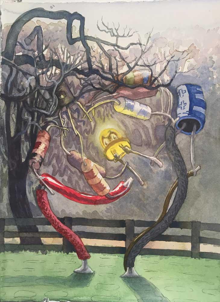 Circuit / Tree, 2017. Watercolor sketch on paper