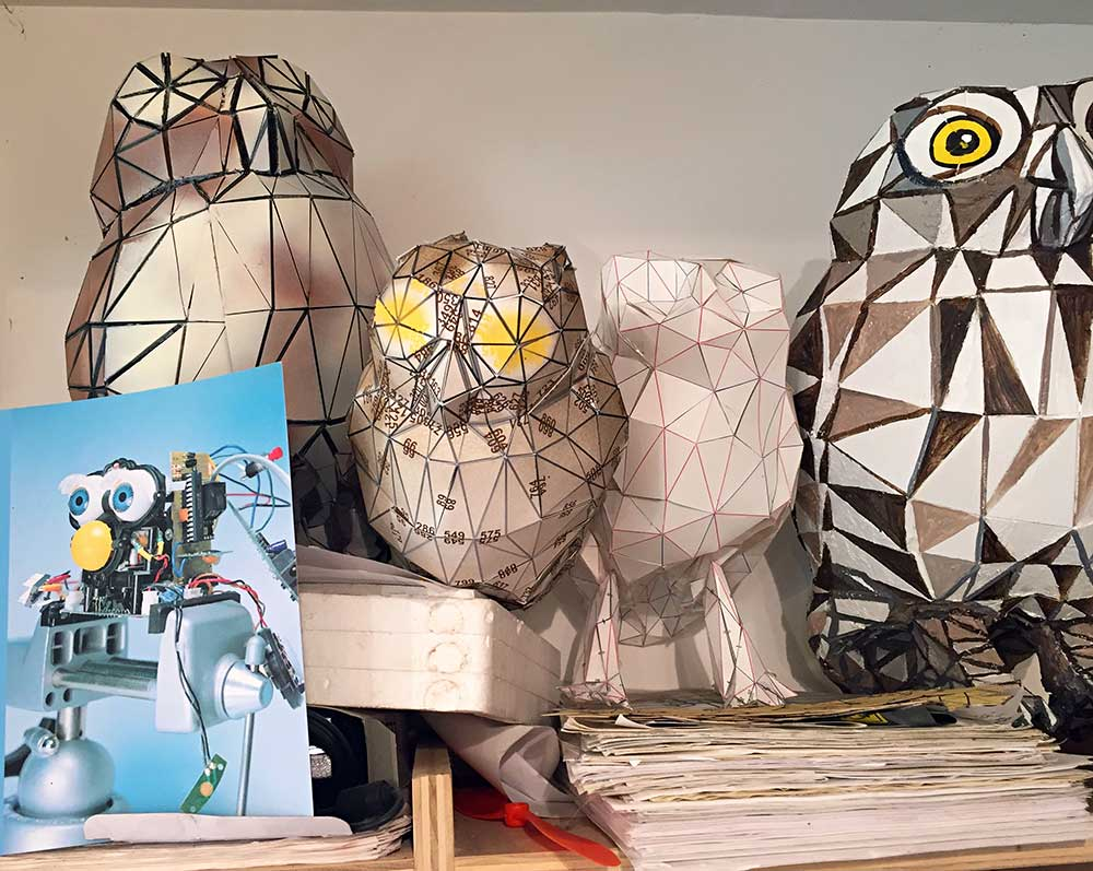 Various owl experiments on a shelf in my studio (2000 - 2018)