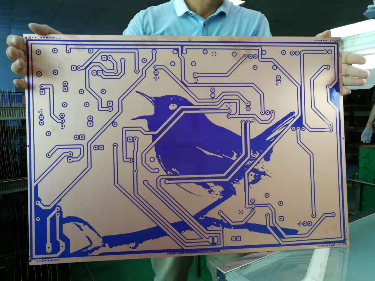 "Front and back of my ""Big Pretty Bird"" printed circuit board in the factory, just prior to etching. August 2019"