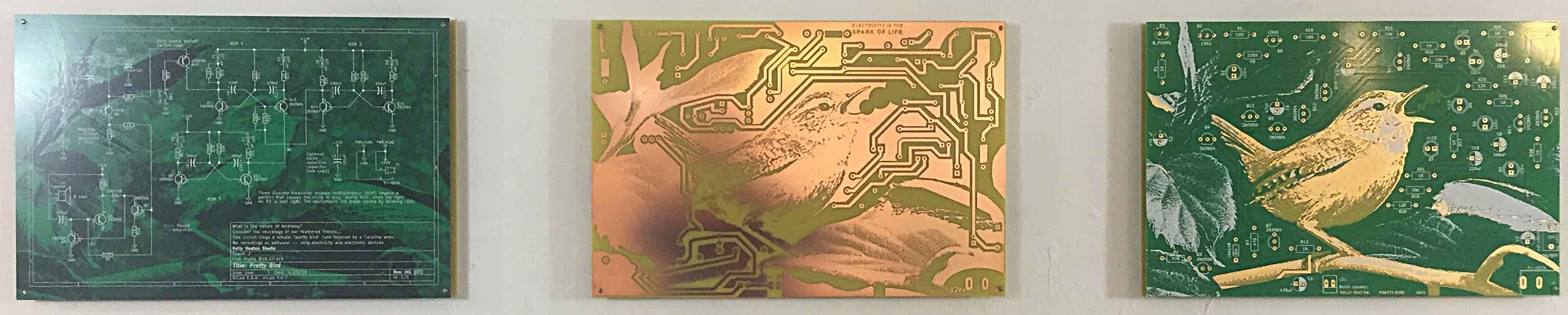 "The Making of a Pretty Bird, 2019. A series of 3 printed circuit boards each measuring 12"" x 18"". Etched copper, gold electroplate, and silkscreen on epoxy laminate."