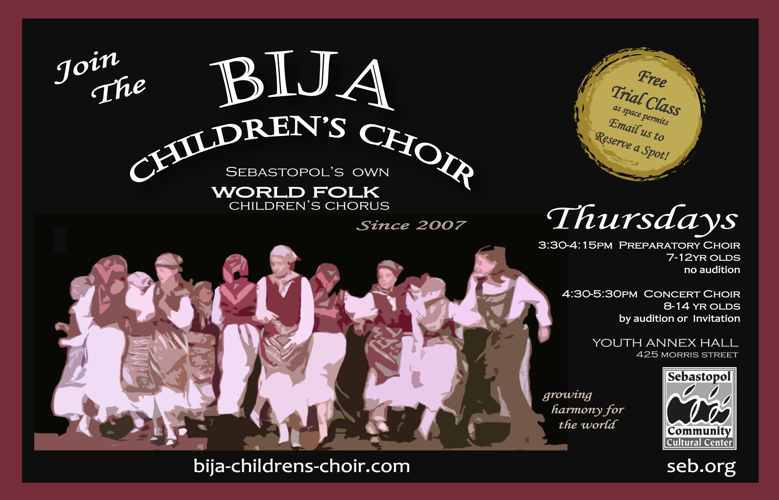 Bija Choir 2018-19 postcard