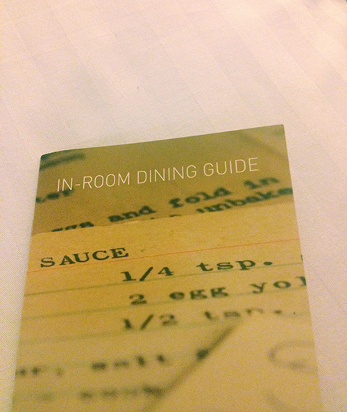 Guilty as charged. Room service was a must.