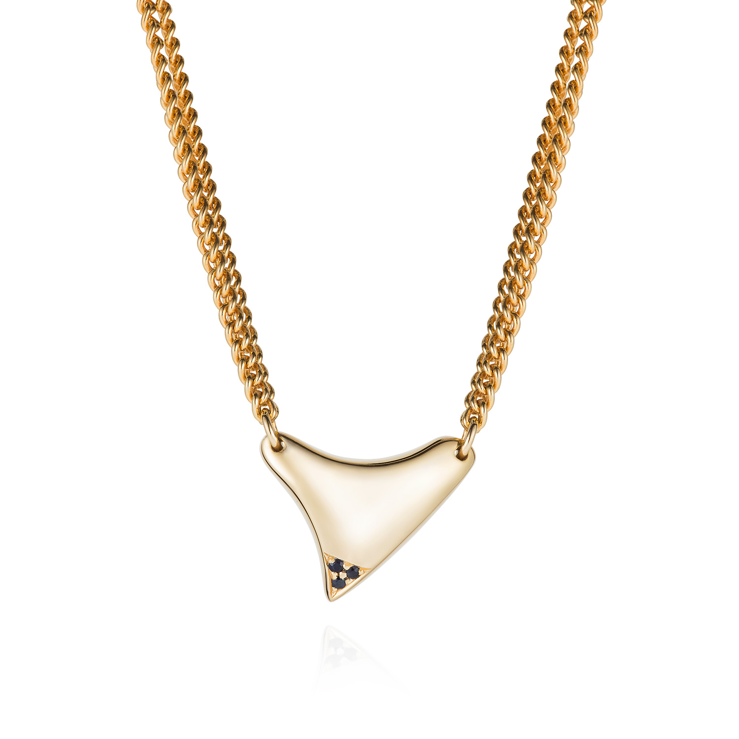 Spanner & Wingnut Comet Necklace Gold plated with black sapphires
