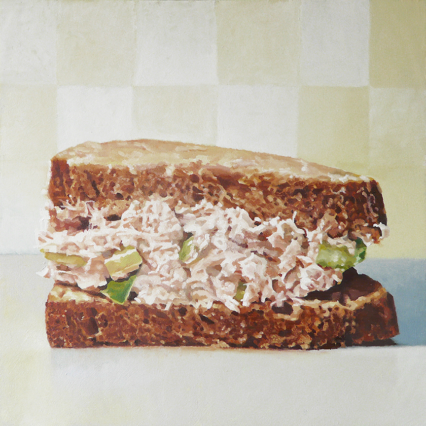 "Tuna Salad on Pumpernickel  oil on panel    12"" x 12"""