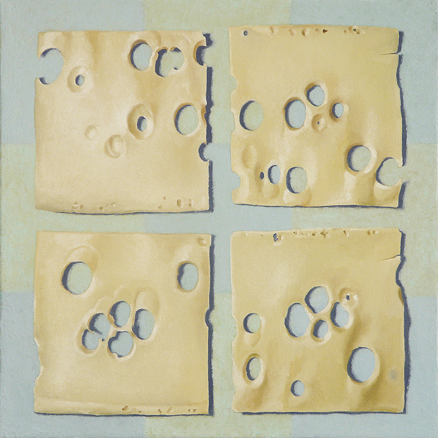 "Four Slices of Swiss Cheese  oil on panel     12"" x 12"""