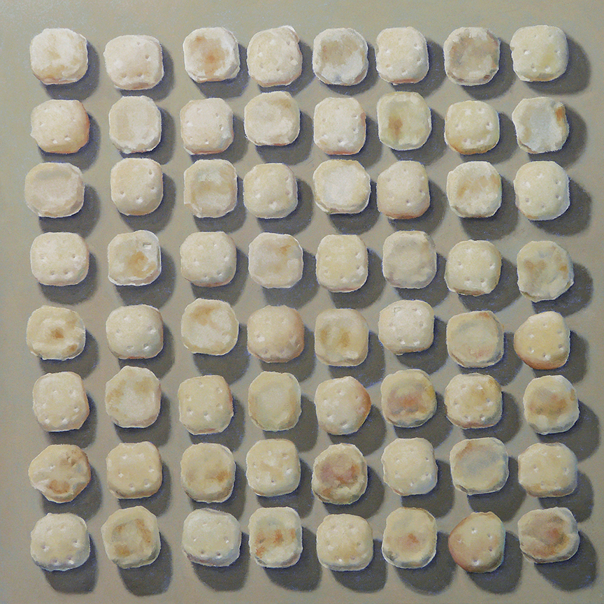 "Sixty Four Oyster Crackers  oil on panel    18"" x 18"""