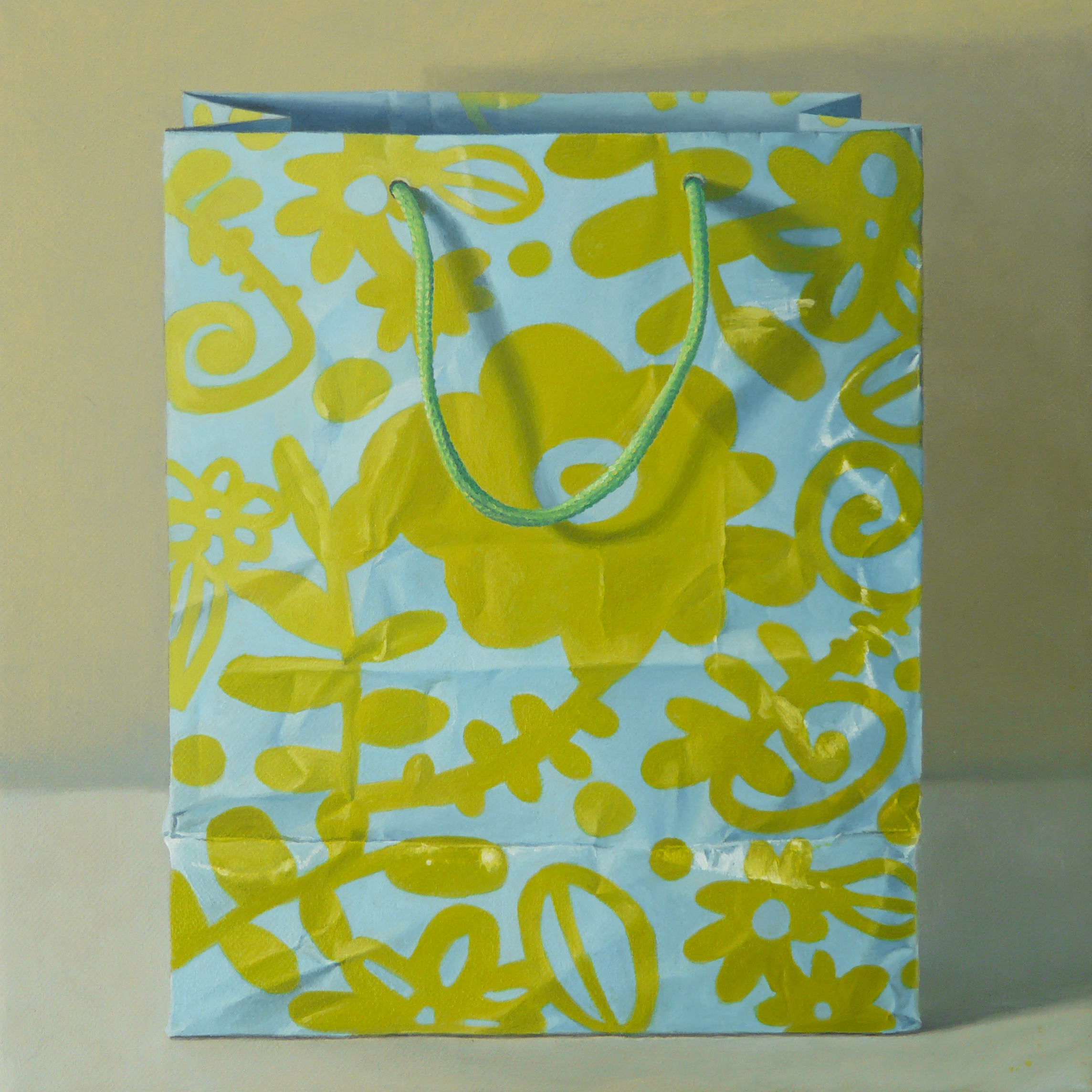 "Blue and Green Gift Bag  oil on canvas    12"" x 12"""