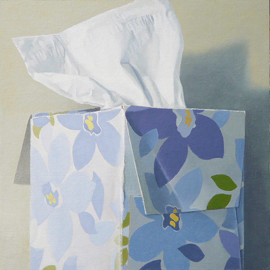 "Tissue Box - Blue Floral  oil on panel    12"" x 12"""