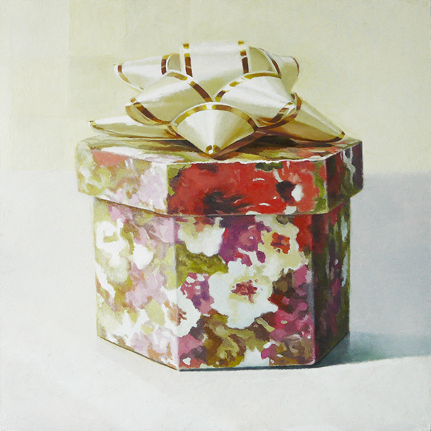 "Box With Bow  oil on panel  12"" x 12"""