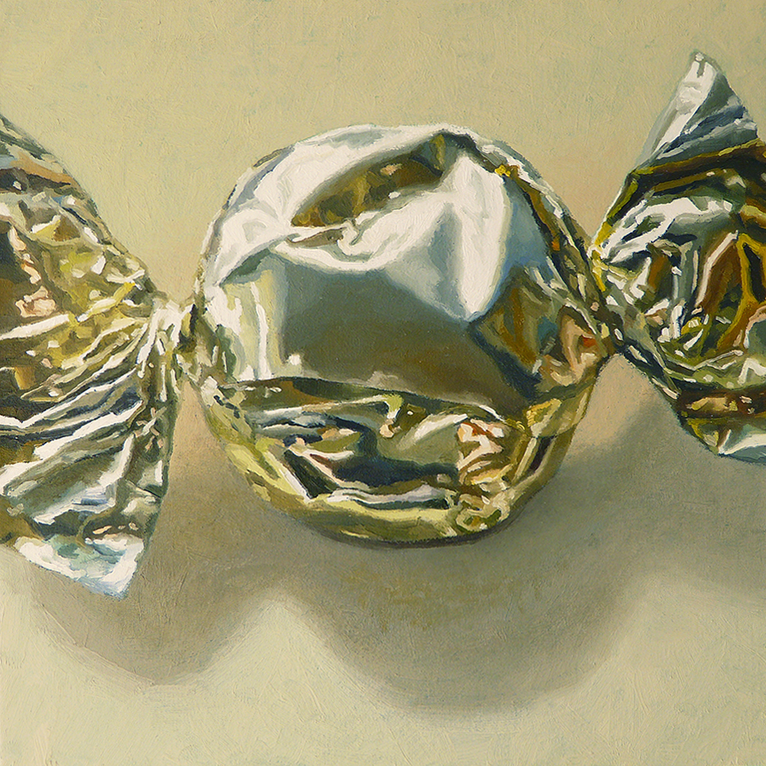 "Hard Candy  oil on panel  8"" x 8"""