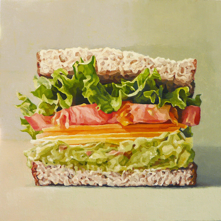 "Lettuce, Tomato, Cheddar, Guacamole  oil on panel  12"" x 12"""