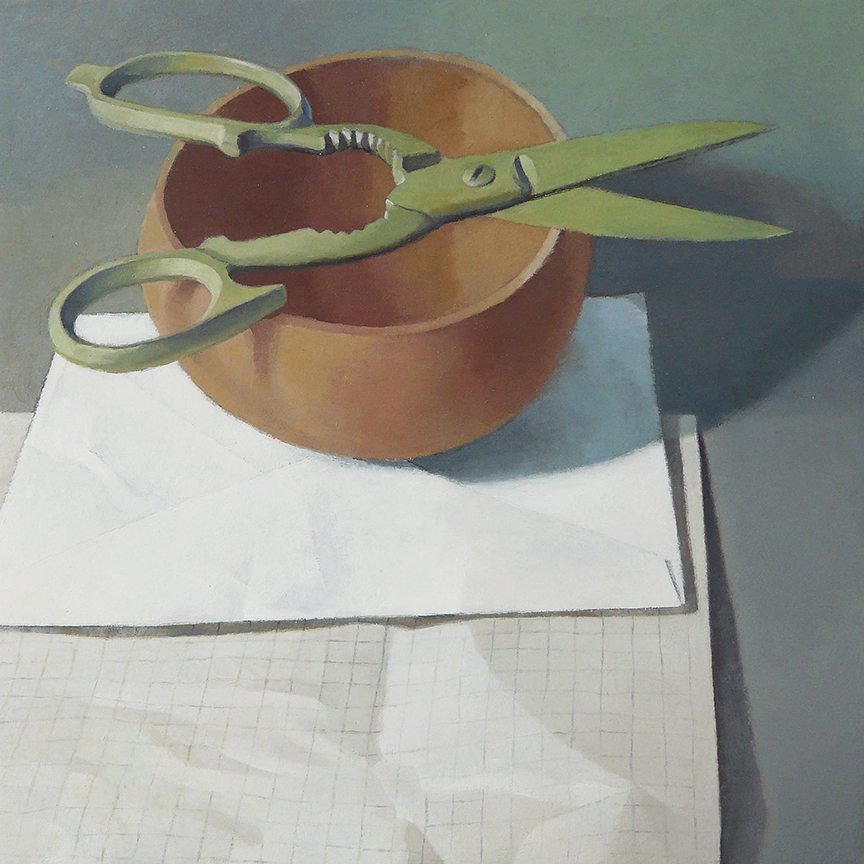 "Scissors On Bowl With Paper  oil on panel  12"" x 12"""