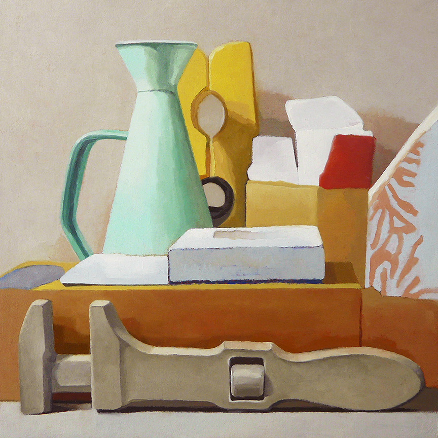 "Still Life With Wrench In Front  oil on panel  12"" x 12"""