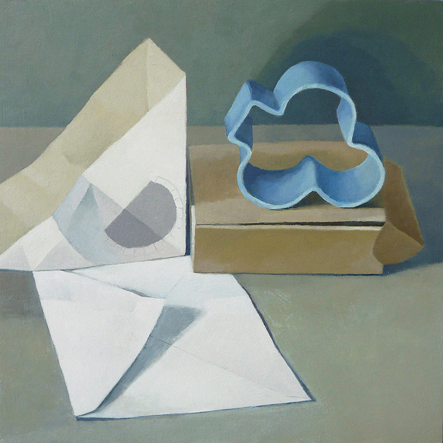 "Still Life With Sandwich Box And Cookie Cutter  oil on panel  12"" x 12"""