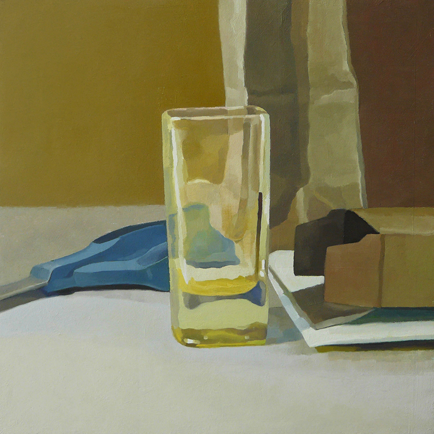 "Glass With Bag, Box, and Scissors  oil on panel  12"" x 12"""