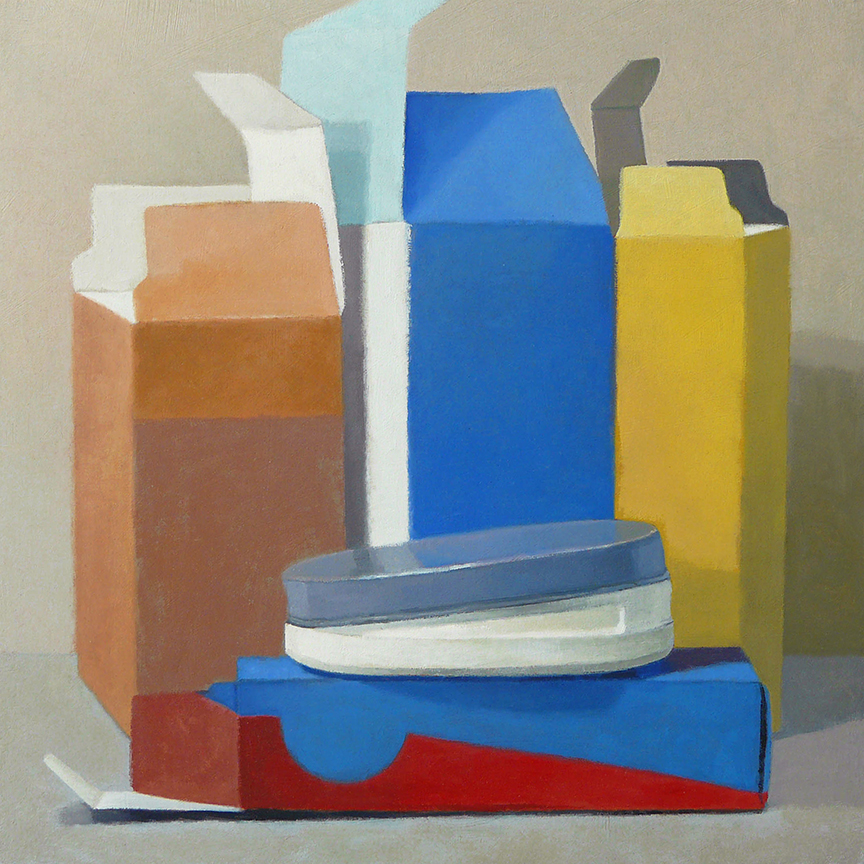 "Boxes And Candy Tin  oil on panel  12"" x 12"""