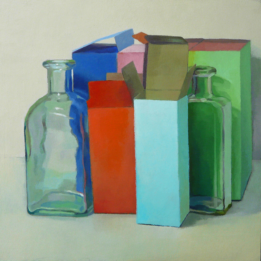 "Boxes and Bottles  oil on panel  12"" x 12"""