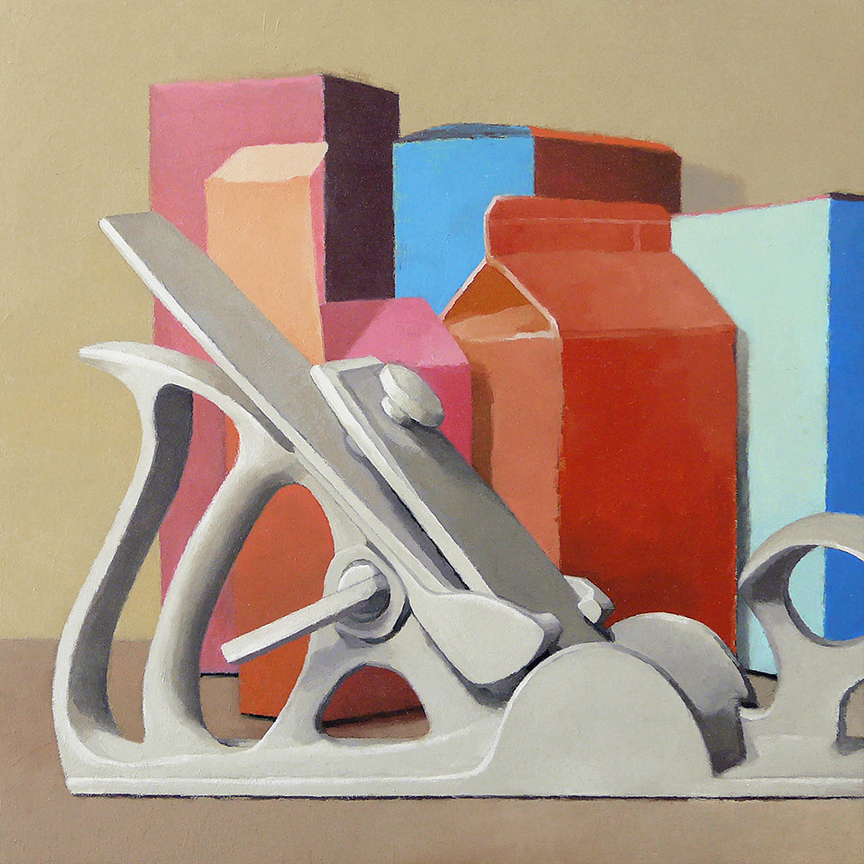 """Plane and Boxes #1  oil on panel  12"""" x 12"""""""