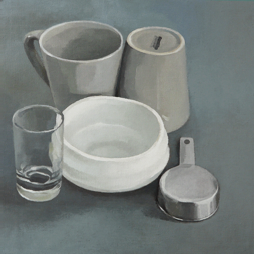 """Still Life With Matcha Bowl  oil on panel  12"""" x 12"""""""