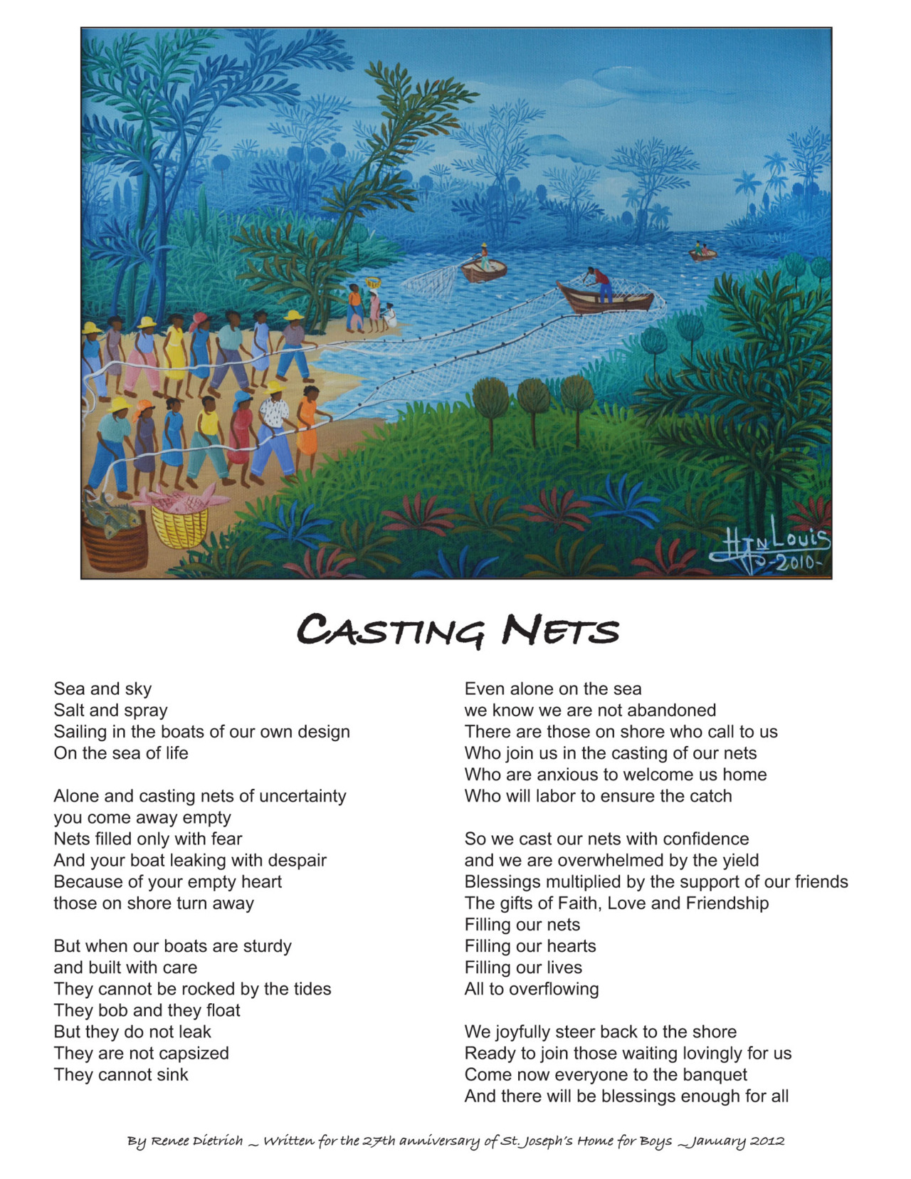 A poem written by Renee Dietrich for the celebration of St. Joseph's 27th anniversary, along with this year's painting. Both are St. Joseph's anniversary traditions.