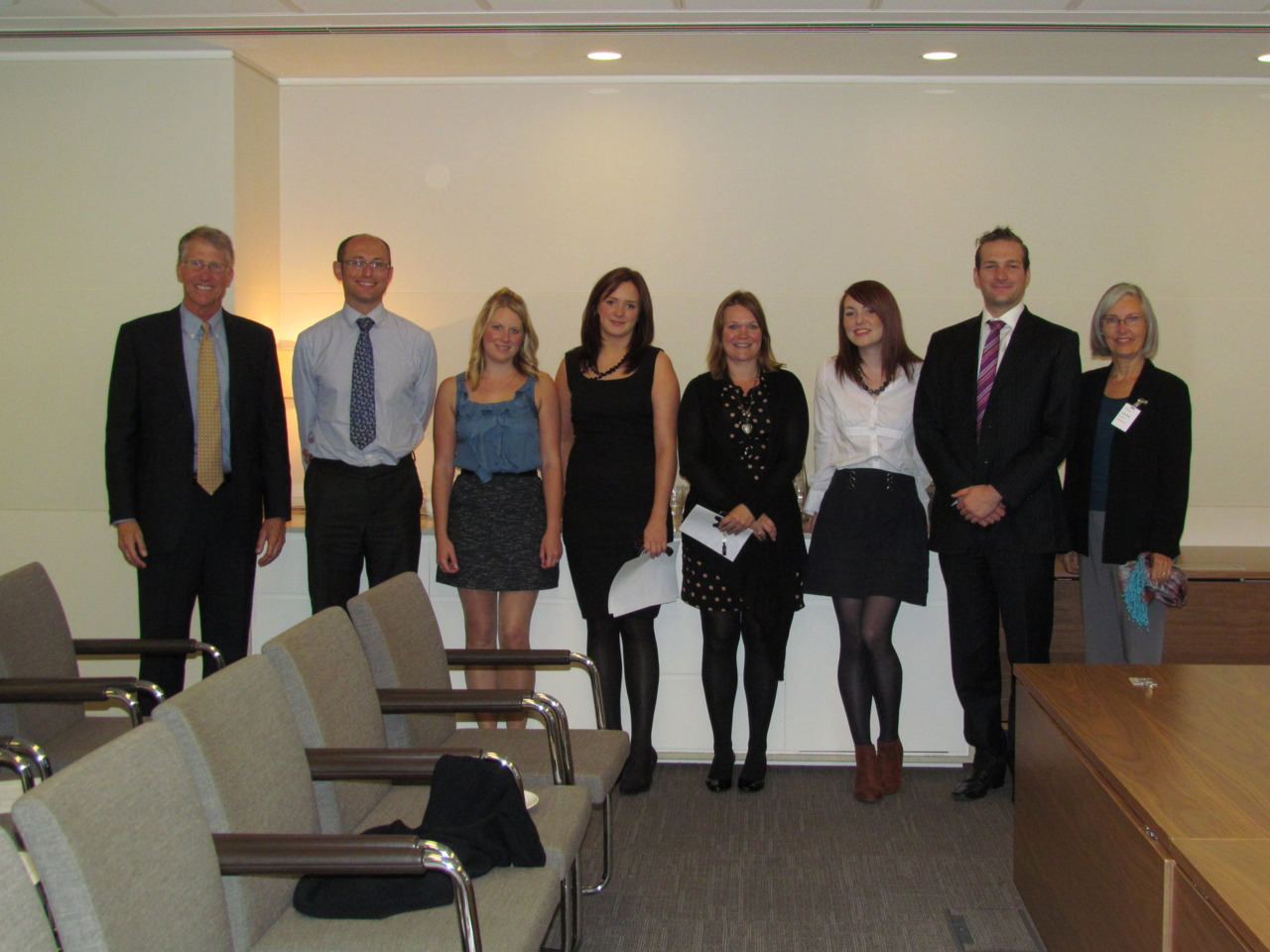 HTF Founder and Executive Director, Rick Barger (Far Left) and his wife Harriet (Far Right), at Linklaters global headquarters in London, October 2011. Next to Rick Barger is Matthew Sparkes, Global Head of Corporate Responsibility.