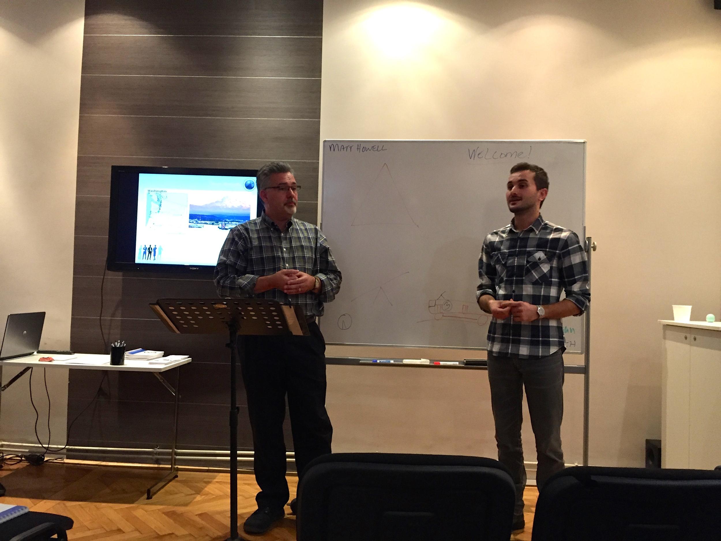 Pastor Matt Howell teaching a Business Ethics Seminar at Izvor.