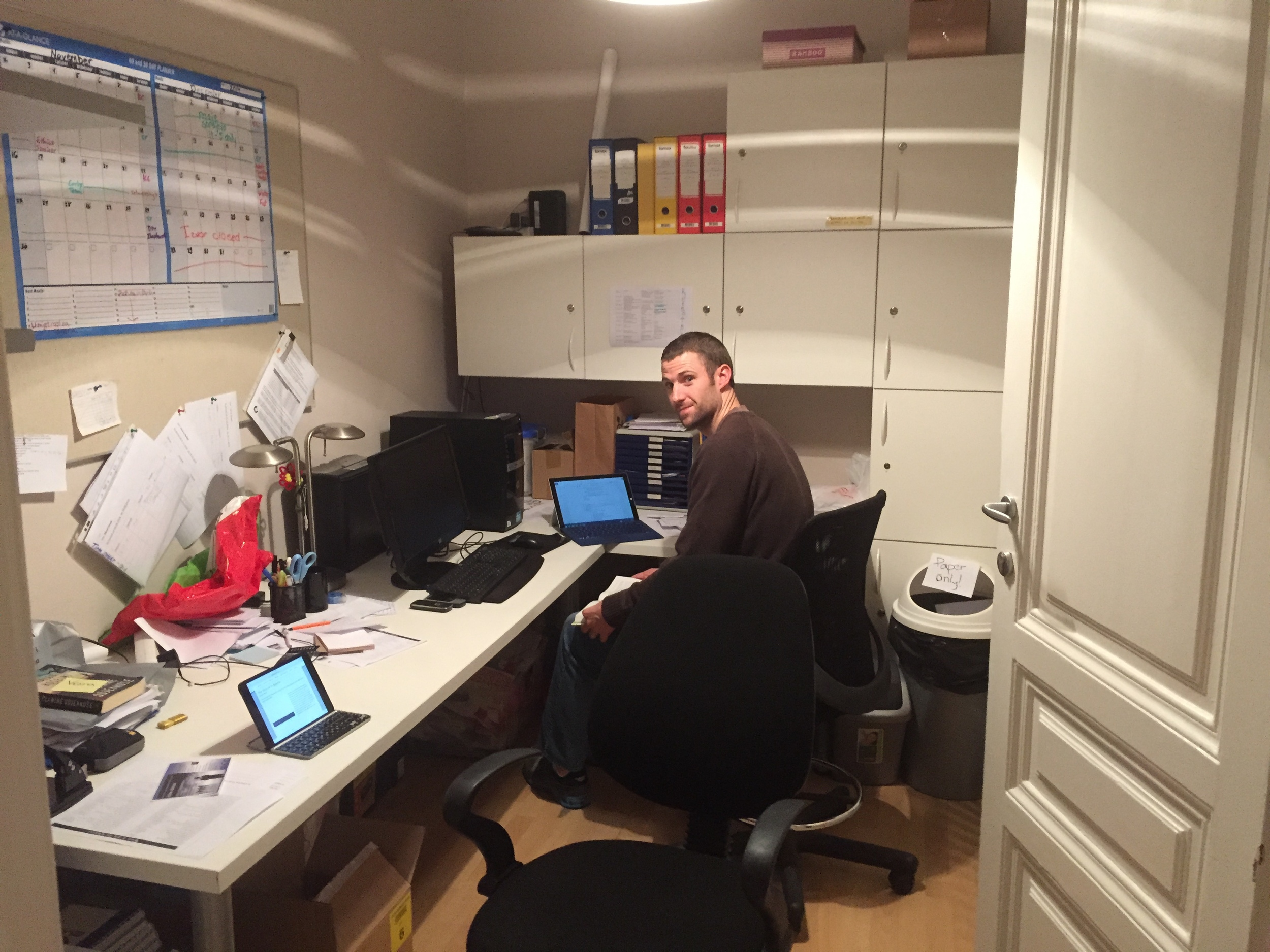Nick doing some prep work in the office at Izvor.