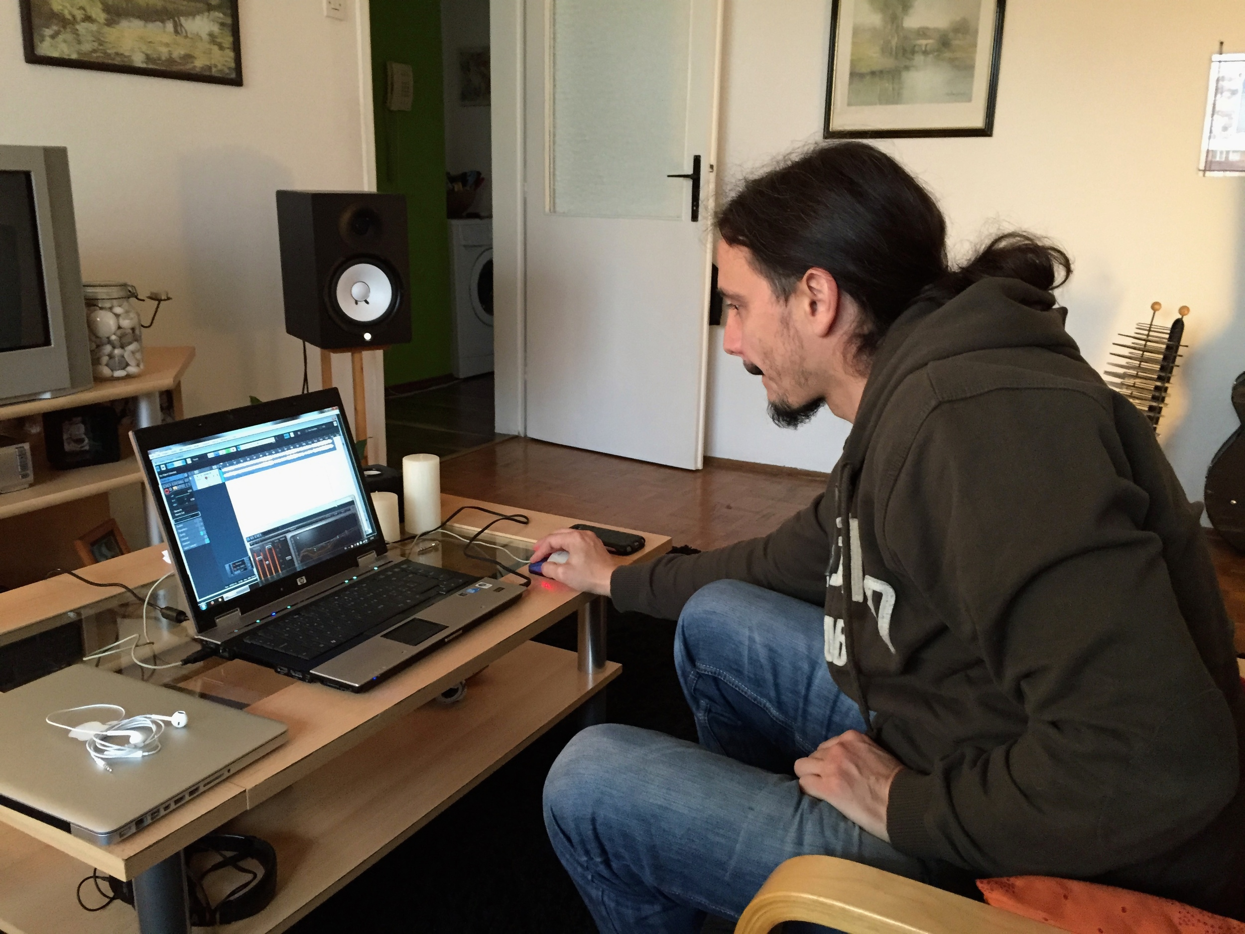 Neno working on the recording for a music video.