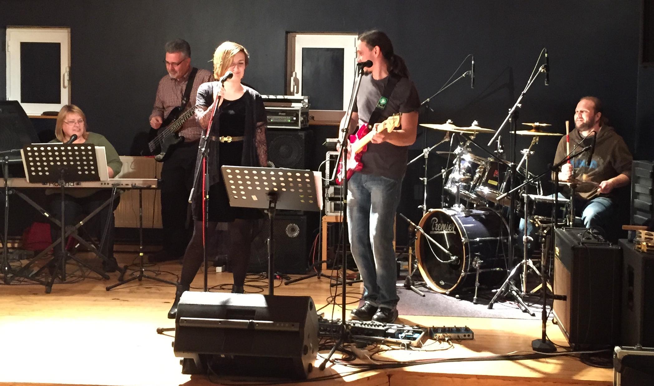 The worship team at Malta church (with Pastor Matt playing bass).