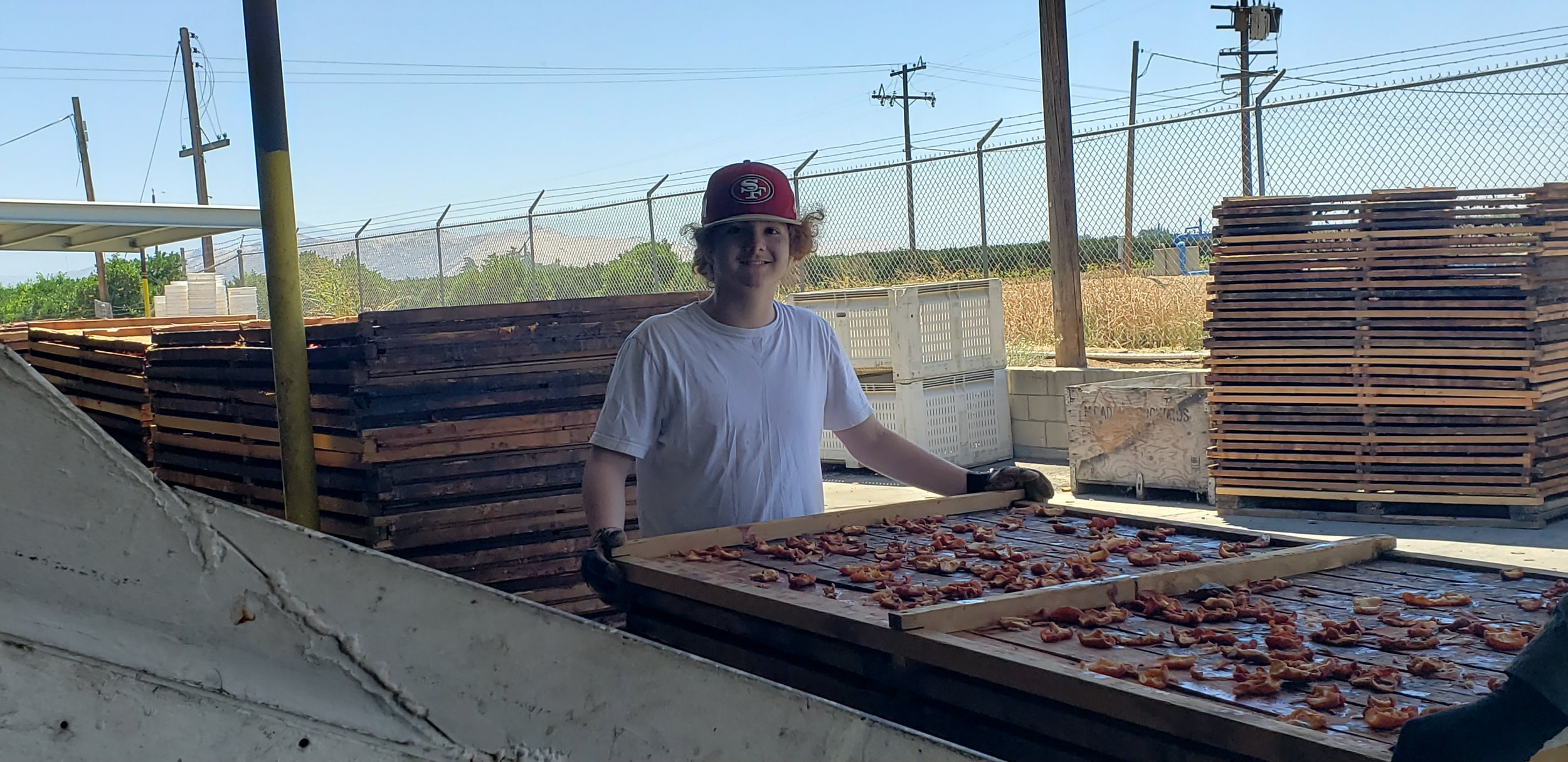 George worked super hard in dried fruit all day flipping pallets!