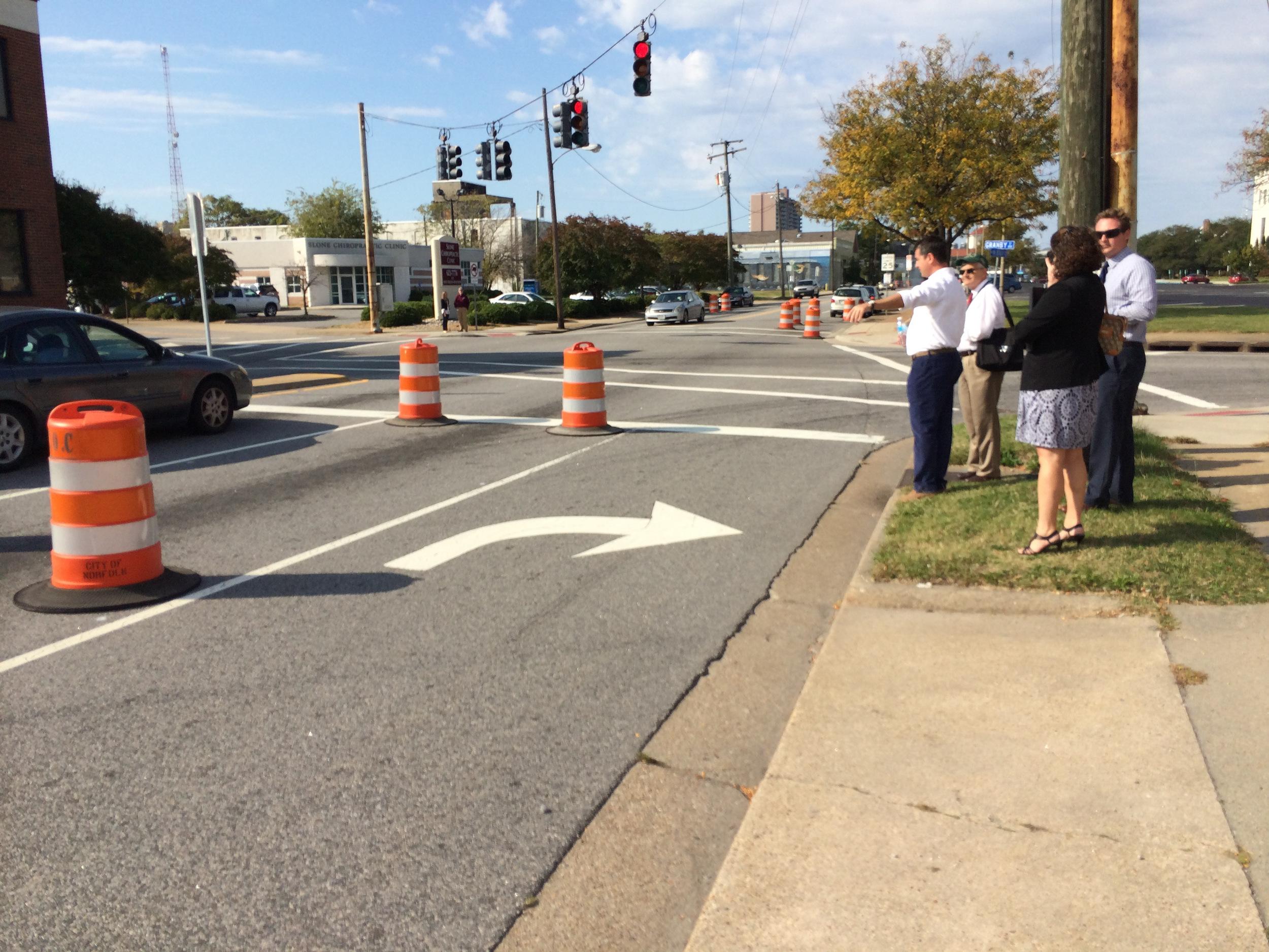 Real time road diet testing on  Virginia Beach Boulevard