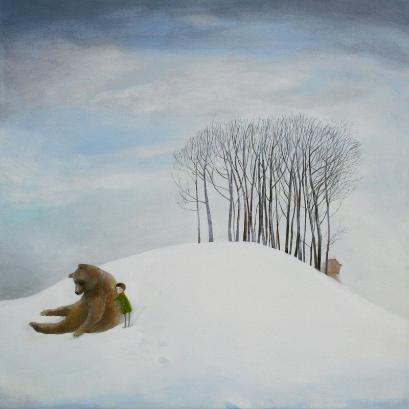 At the edge of the world   70 x  70   oil on canvas .  2012