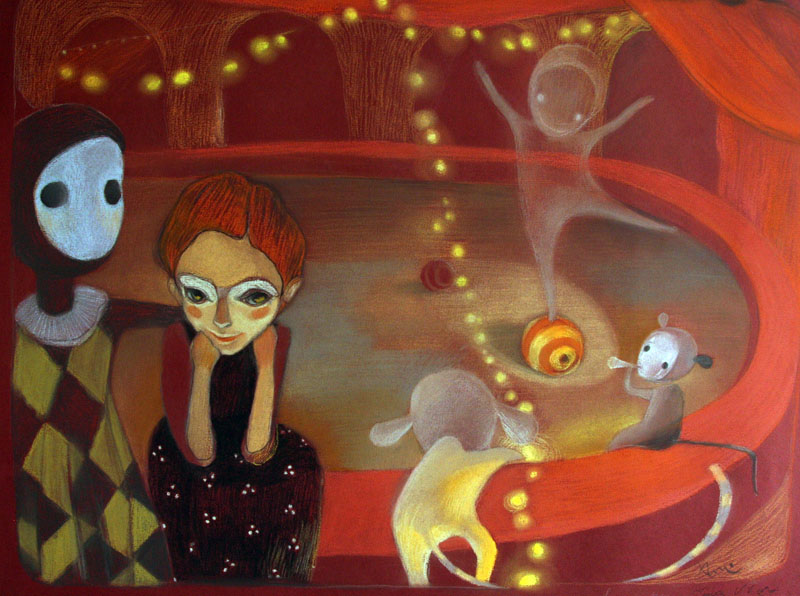 In the circus   50 x  60  pastel on the paper . 2009